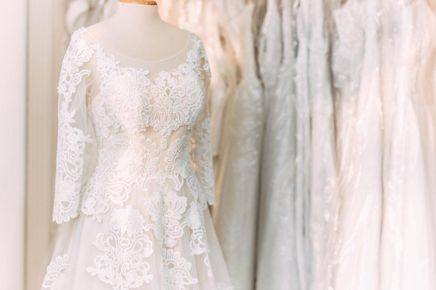 bridal gown on hanger